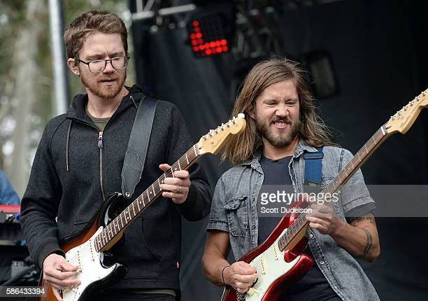 Musicians Spencer Thomson and Trevor Terndrup of the band Moon Taxi perform onstage during Outside Lands Festival at Golden Gate Park on August 5...
