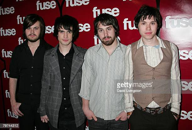 Musicians Spenser Smith Brendon Urie Jon Walker and Ryan Ross of Panic At The Disco attend Fuse TV's Grammy party at GOA on February 7 2008 in...