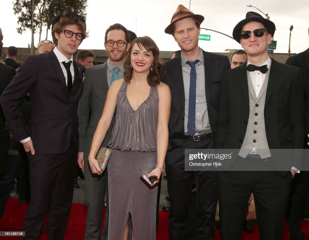 Musicians Stelth Ulvang, Ben Wahamaki, Neyla Pekarek, Wesley Schultz and Jeremiah Fraites of The Lumineers attend the 55th Annual GRAMMY Awards at STAPLES Center on February 10, 2013 in Los Angeles, California.