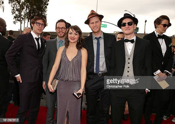 Musicians Stelth Ulvang Neyla Pekarek Jeremiah Fraites Wesley Schultz and Ben Wahamaki of The Lumineers arrive at the 55th Annual GRAMMY Awards on...