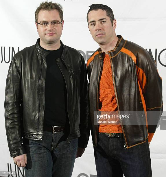 Musicians Stephen Page and Ed Robertson of the Barenaked Ladies stand backstage during the JUNO Awards ceremony at the Rexall Centre April 4 2004 in...