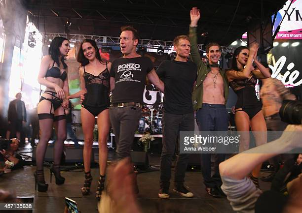 Musicians Stephen Perkins Chris Chaney vocalist Perry Farrell and Dave Navarro of Jane's Addiction onstage with dancers during CBGB Music Film...
