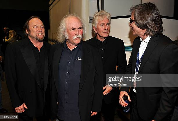 Musicians Stephen Stills David Crosby Jackson Browne and Graham Nash attend the 2010 MusiCares Person Of The Year Tribute To Neil Young at the Los...
