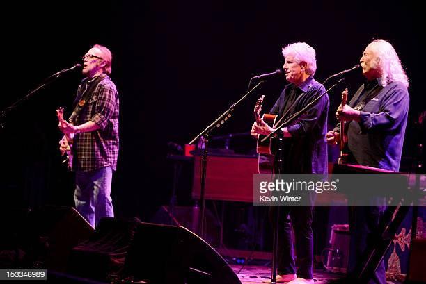 Musicians Stephen Stills Graham Nash and David Crosby of Crosby Stills and Nash perform at a 'No On Proposition 32' concert at the Nokia Theatre LA...