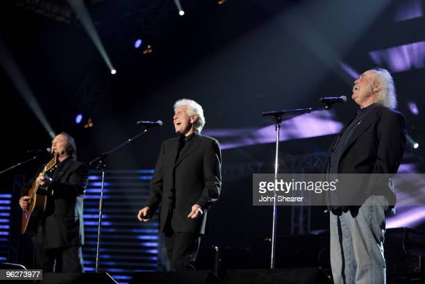 Musicians Stephen Stills Graham Nash and David Crosby perform at the 2010 MusiCares Person Of The Year Tribute To Neil Young at the Los Angeles...
