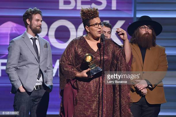"Musicians Steve Johnson, Brittany Howard and Zac Cockrell of Alabama Shakes accept the Best Rock Performance award for ""Don't Wanna Fight"" onstage..."