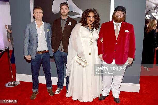 Musicians Steve Johnson, Brittany Howard, Zac Cockrell and Heath Fogg of Alabama Shakes attend the 55th Annual GRAMMY Awards at STAPLES Center on...