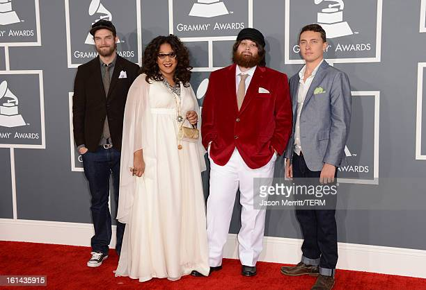 Musicians Steve Johnson Brittany Howard Zac Cockrell and Heath Fogg of Alabama Shakes arrive at the 55th Annual GRAMMY Awards at Staples Center on...