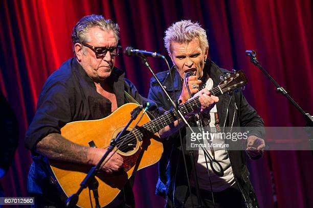Musicians Steve Jones and Billy Idol perform onstage at 'Hey Ho Let's Go Celebrating 40 Years Of The Ramones' at The GRAMMY Museum on September 16...