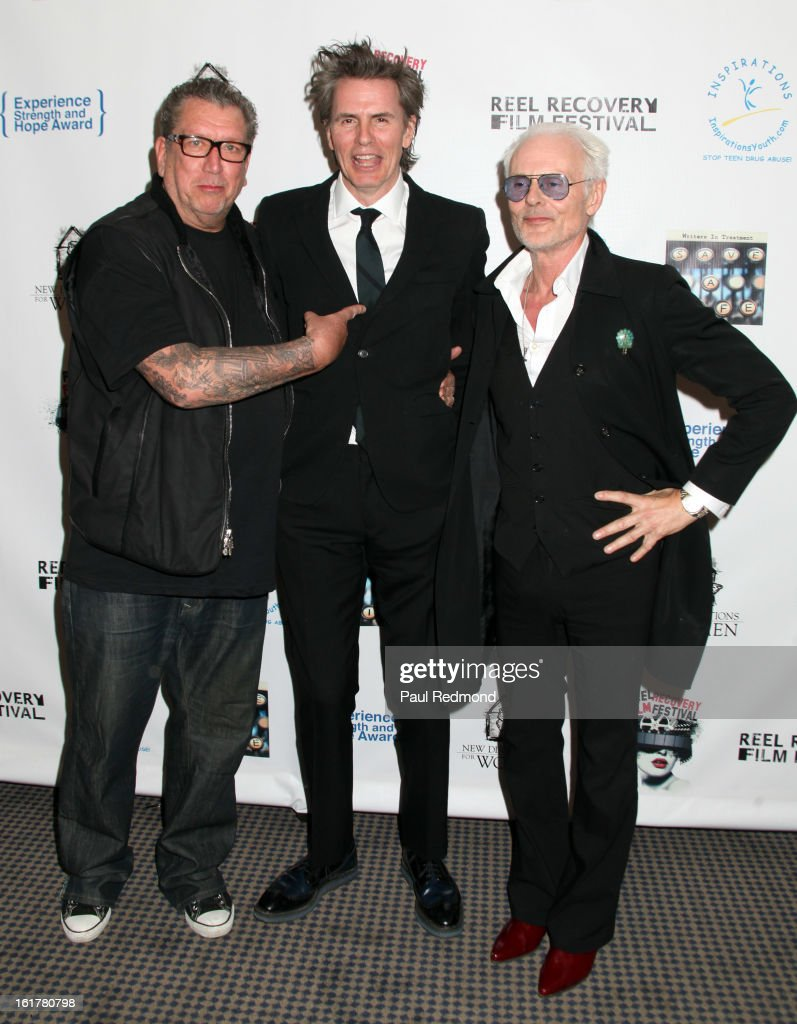 Musicians Steve Jones, John Taylor and Michael Des Barres arrive at Writers In Treatment's 4th Annual Experience, Strength And Hope Awards at Skirball Cultural Center on February 15, 2013 in Los Angeles, California.