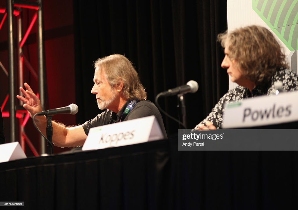 Musicians Steve Kilbey (L) and Peter Koppes speak onstage at 'SXSW Interview: The Church' during the 2015 SXSW Music, Film + Interactive Festival at Austin Convention Center on March 20, 2015 in Austin, Texas.