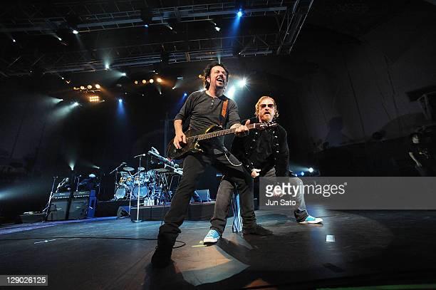 Musicians Steve Lukather and Joe Williams of Toto perform onstage at Pacifico Yokohama on September 29 2011 in Yokohama Japan