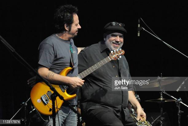 Musicians Steve Lukather and Randy Brecker perform during the Soulbop special Edition concert at Billboard Live on March 4 2010 in Tokyo Japan