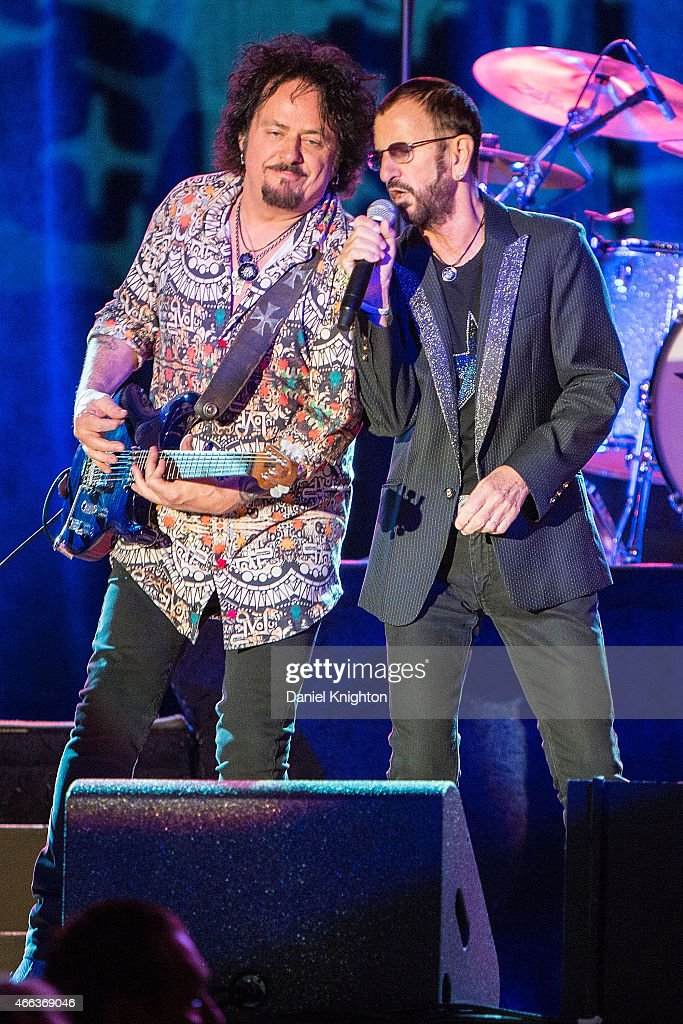 Musicians Steve Lukather (L) and Ringo Starr perform on stage with Ringo Starr & His All-Starr Band at Pala Casino on March 14, 2015 in Pala, California.