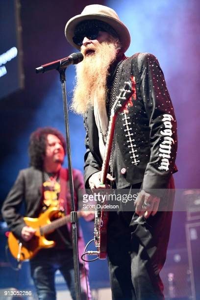 Musicians Steve Lukather of Toto and Billy Gibbons of the band ZZ Top perform onstage with Kings of Chaos during the Adopt The Arts annual rock gala...
