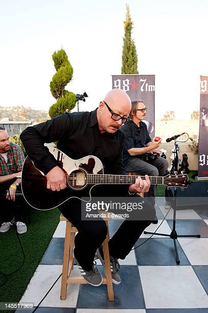 Musicians Steve Marker and Butch Vig of Garbage perform at 987 FM's Penthouse Party Pad at The Historic Hollywood Tower on May 31 2012 in Hollywood...