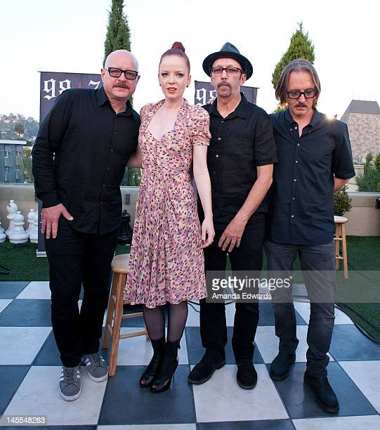 Musicians Steve Marker Shirley Manson Duke Erikson and Butch Vig of Garbage pose after performing at 987 FM's Penthouse Party Pad at The Historic...