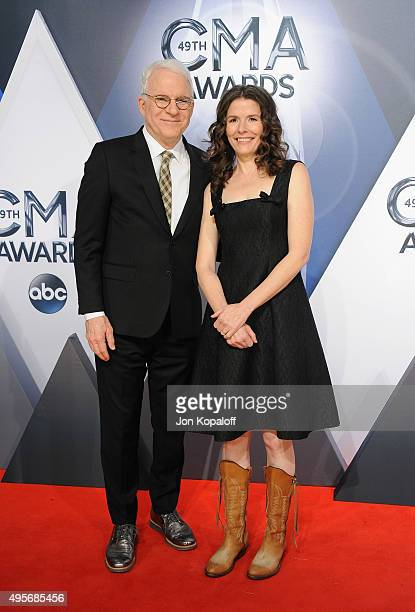 Musicians Steve Martin and Edie Brickell attend the 49th annual CMA Awards at the Bridgestone Arena on November 4 2015 in Nashville Tennessee