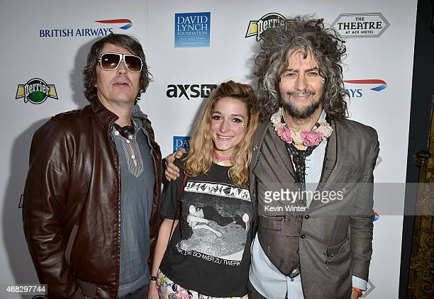 Musicians Steven Drozd Wayne Coyne of The Flaming Lips with Katy Weaver attend the David Lynch Foundation's DLF Live presents The Music Of David...