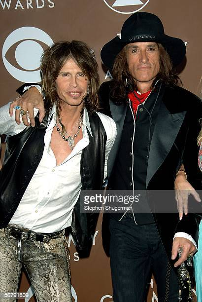 Musicians Steven Tyler and Joe Perry of Aerosmith arrive at the 48th Annual Grammy Awards at the Staples Center on February 8 2006 in Los Angeles...