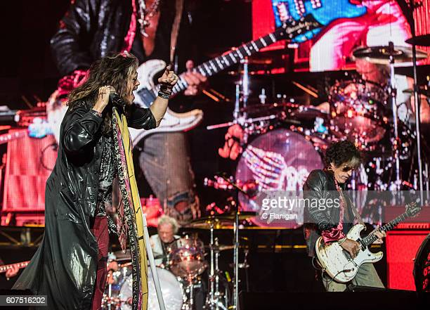 Musicians Steven Tyler and Joe Perry of Aerosmith perform on the Sunset Cliffs Stage during the 2016 KAABOO Del Mar at the Del Mar Fairgrounds on...