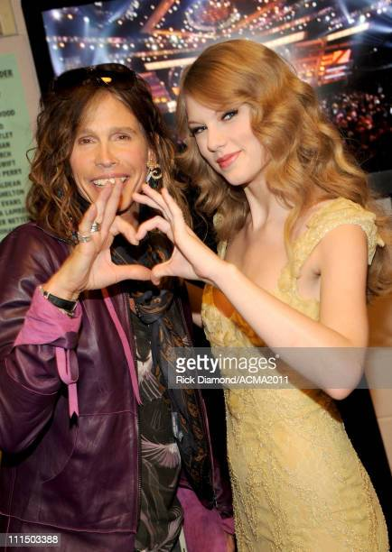 Musicians Steven Tyler and Taylor Swift backstage at the 46th Annual Academy Of Country Music Awards held at the MGM Grand Garden Arena on April 3...