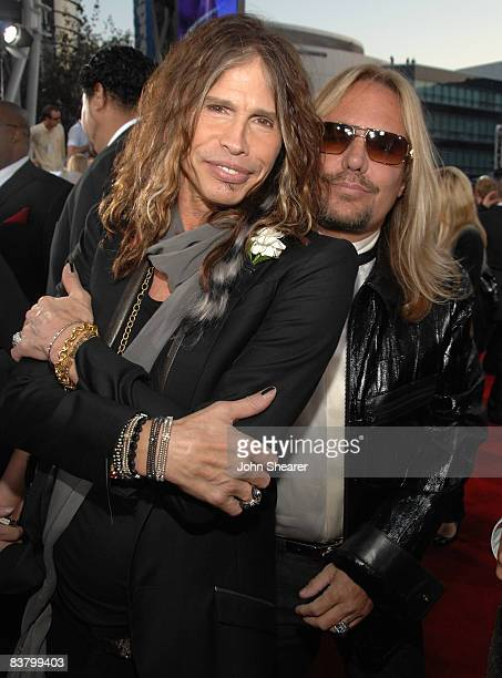Musicians Steven Tyler and Vince Neil arrive at the 2008 American Music Awards held at Nokia Theatre LA LIVE on November 23 2008 in Los Angeles...