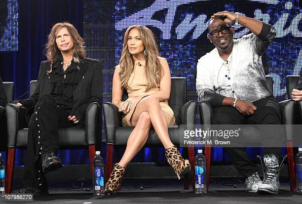Musicians Steven Tyler, Jennifer Lopez and producer Randy Jackson speak onstage during the 'American Idol' panel at the FOX Broadcasting Company...