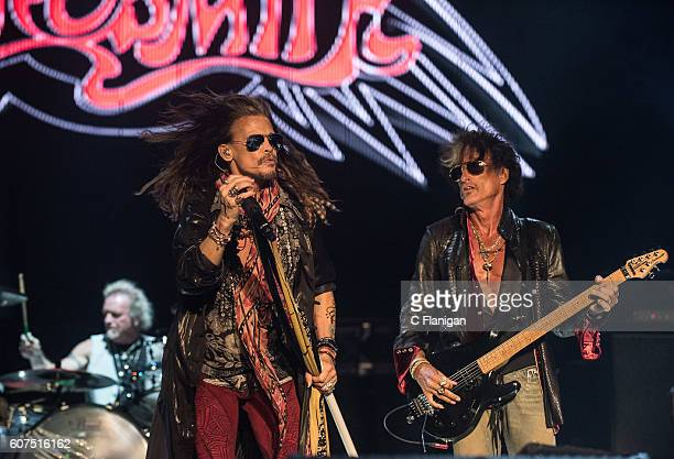 Musicians Steven Tyler Joe Perry and Joey Kramer of Aerosmith perform on the Sunset Cliffs Stage during the 2016 KAABOO Del Mar at the Del Mar...