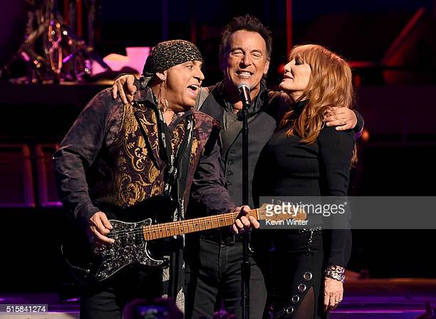 Musicians Stevie Van Zandt Bruce Springsteen and Patti Scialfa of Bruce Springsteen and the E Street Band perform at the Los Angeles Sports Arena on...