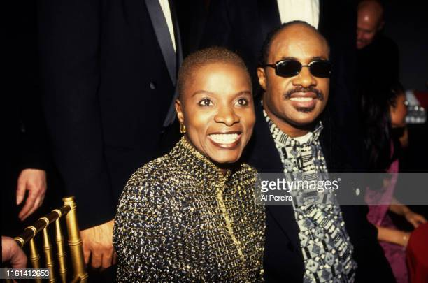 Musicians Stevie Wonder and Angelique Kidjo at a Grammy Party in February 1998 in New York Photo by Al Pereira/Michael Ochs Archives/Getty Images