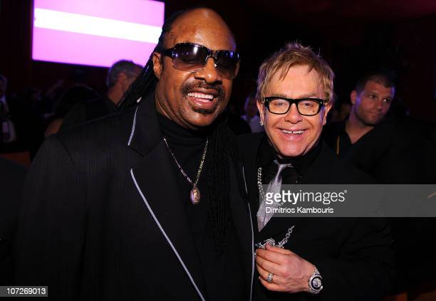 Musicians Stevie Wonder and Elton John attend the 16th Annual Elton John AIDS Foundation Academy Awards viewing party at the Pacific Design Center on...