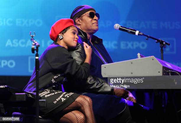 Musicians Stevie Wonder and Janelle Monae onstage at Stevie Wonder presented with Key of Life Award at the ASCAP I Create Music Expo on April 15 2017...