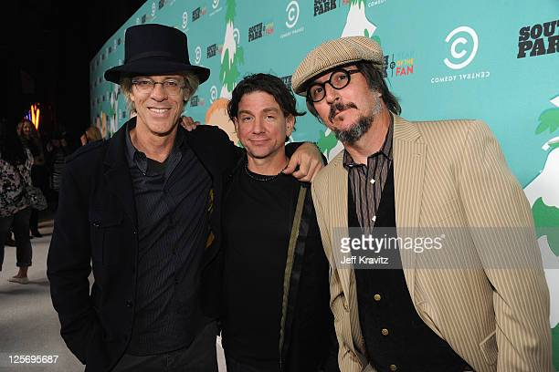 """Musicians Stewart Copeland, Larry LaLonde and Les Claypool arrive at """"South Park"""" 15th Anniversary Celebration at The Barker Hanger on September 20,..."""