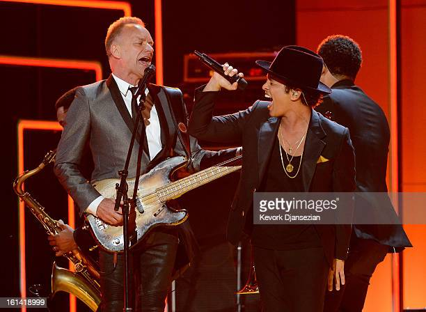 Musicians Sting and Bruno Mars perform onstage at the 55th Annual GRAMMY Awards at Staples Center on February 10 2013 in Los Angeles California
