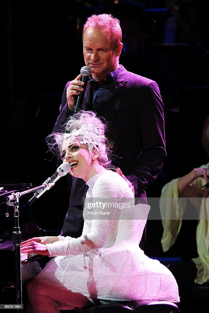 Musicians Sting and Lady Gaga perform on stage during the Almay concert to celebrate the Rainforest Fund's 21st birthday at Carnegie Hall on May 13, 2010 in New York City.