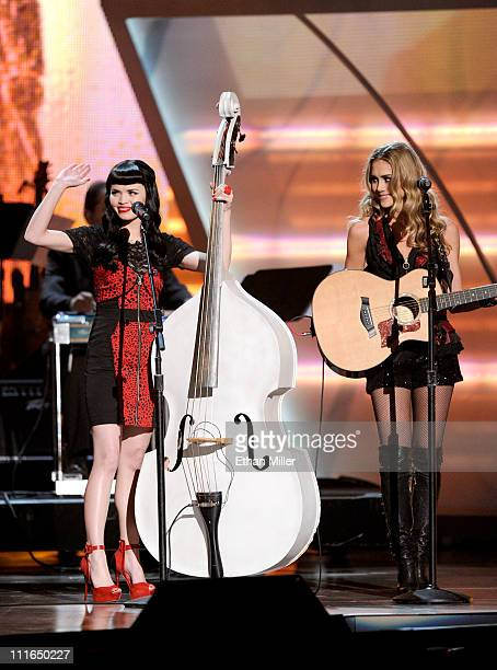 Musicians Susie Brown and Danelle Leverett of The JaneDear Girls perform onstage during ACM Presents Girls' Night Out Superstar Women of Country...