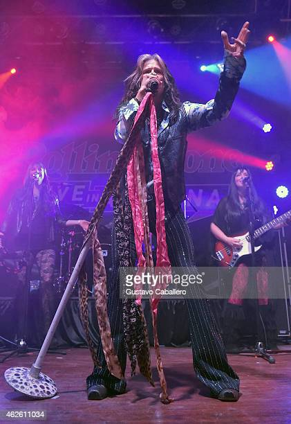 Musicians Suzie McNeil of Loving Mary Steven Tyler of Aerosmith and Rebecca Lynn Howard of Loving Mary perform onstage during the Rolling Stone LIVE...