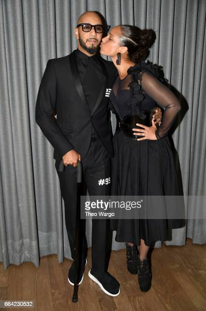 Musicians Swizz Beatz and Alicia Keys attend the Brooklyn Artists Ball 2017 at Brooklyn Museum on April 3 2017 in New York City
