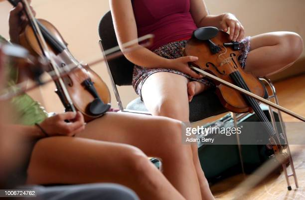 Musicians take a violin workshop during Yiddish Summer Weimar on July 27 2018 in Weimar Germany The annual fiveweek summer institute and festival...