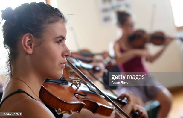 Musicians take a violin workshop during Yiddish Summer Weimar on July 27, 2018 in Weimar, Germany. The annual five-week summer institute and...