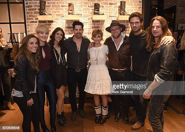 Musicians Tara Thompson Maggie Rose Kelleigh Bannen JT Hodges Clare Bowen Timothy Bowen Chuck Wicks and Manny Medina attend the grand opening of FRYE...
