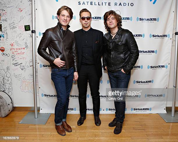 Musicians Taylor Hanson Isaac Hanson and Zac Hanson of Hanson visit the SiriusXM Studios on February 25 2013 in New York City