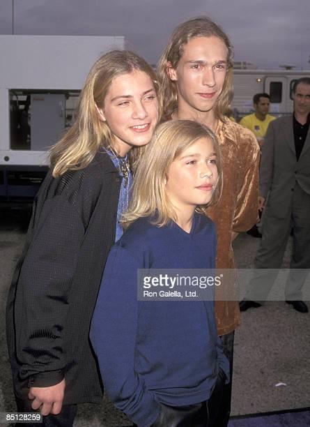 Musicians Taylor Hanson Zac Hanson and Isaac Hanson attend the Sixth Annual MTV Movie Awards on June 7 1997 at The Barker Hangar at Santa Monica Air...