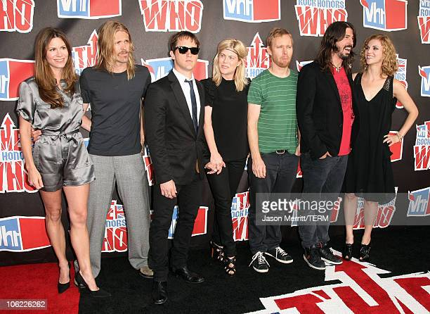 Musicians Taylor Hawkins Chris Shiflett Nate Mendel Dave Grohl and wife Jordyn Blum of the Foo Fighters with guests arrive at the 2008 VH1 Rock...