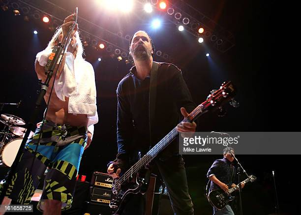 Musicians Taylor Hawkins, Krist Novoselic and Pat Smear of the Sound City Players perform at Hammerstein Ballroom on February 13, 2013 in New York...