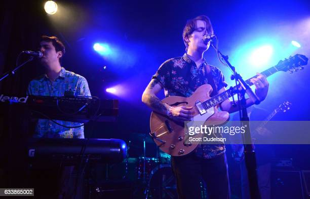 Musicians Taylor Inouye and Shannon Inouye of the band Emerson Star perform onstage at The Echo on February 4 2017 in Los Angeles California