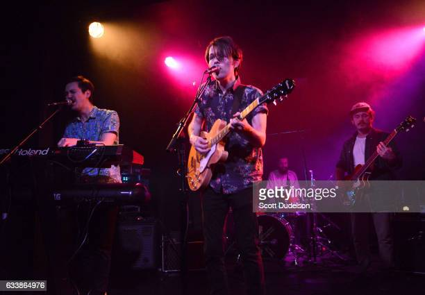 Musicians Taylor Inouye Shannon Inouye Colin Fahrner and Garret Lang of the band Emerson Star perform onstage at The Echo on February 4 2017 in Los...