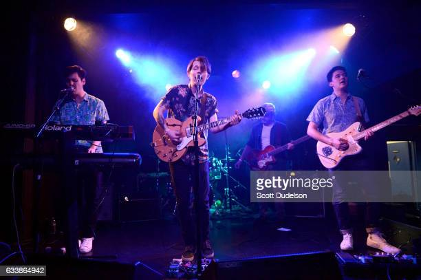 Musicians Taylor Inouye Shannon Inouye Colin Fahrner Garret Lang and Sean Thomas of the band Emerson Star perform onstage at The Echo on February 4...