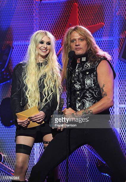 Musicians Taylor Momsen and Sebastion Bach on stage at the 3rd Annual Revolver Golden God Awards at the Club Nokia on April 20 2011 in Los Angeles...